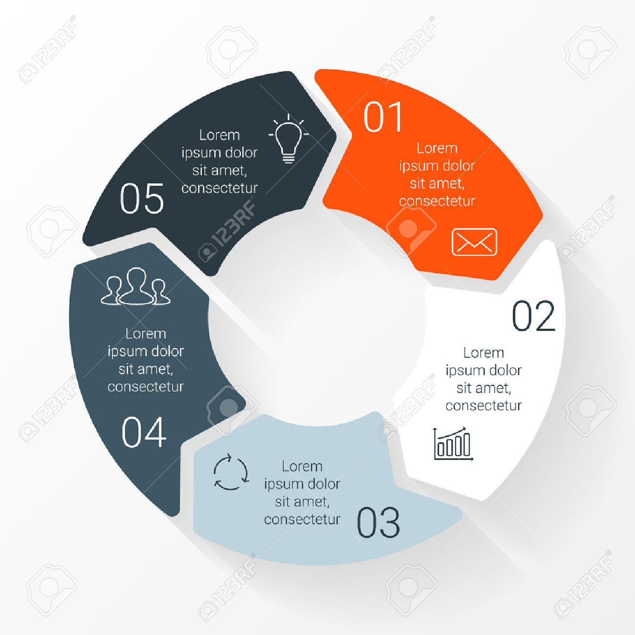 Process cycling arrow by arrow royalty free stock images image - Vector Vector Line Circle Arrows Infographic Template For Cycle Diagram Graph Presentation And Round Chart Business Concept With 5 Options Parts