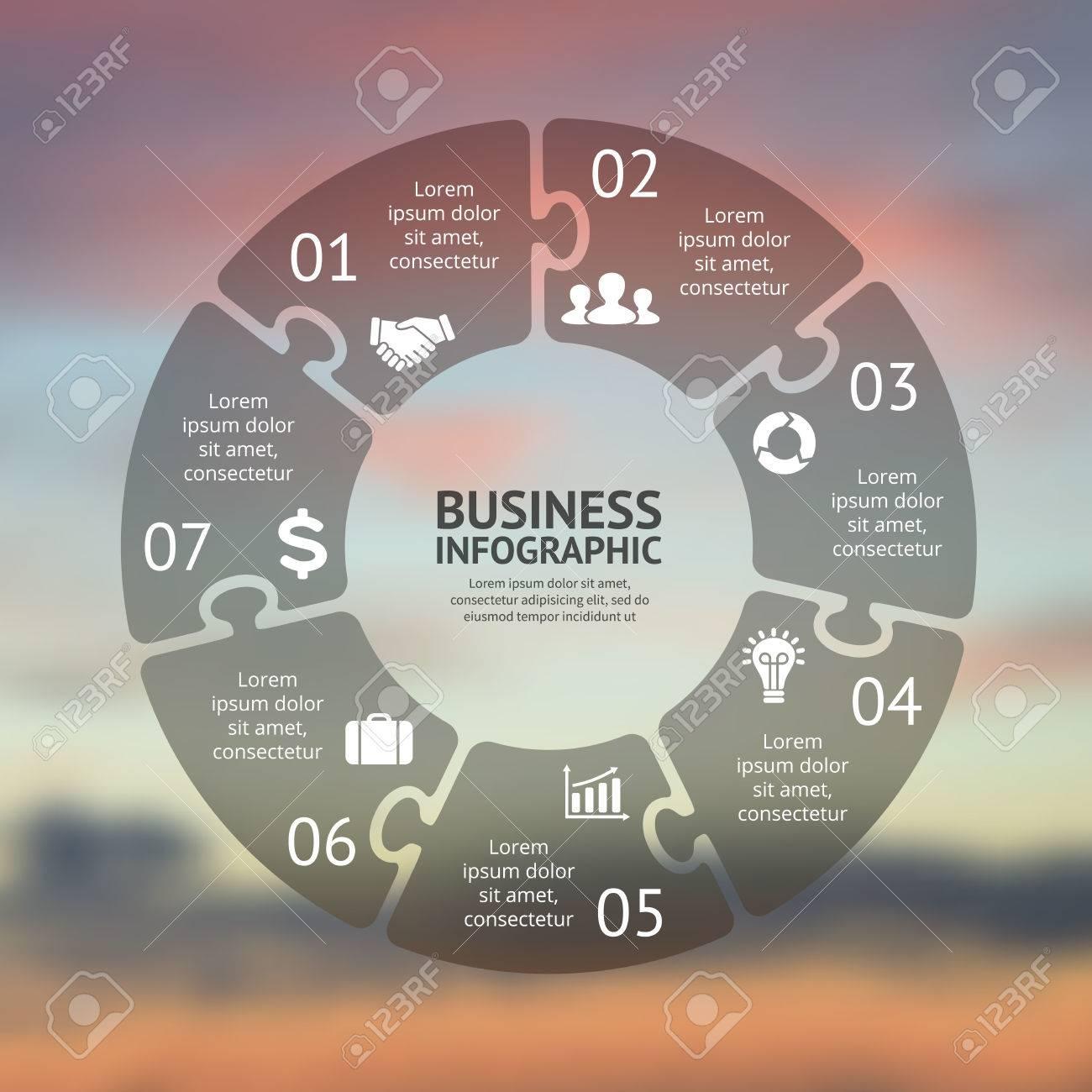 Kreis Puzzle Infografik. Vorlage Für Zyklusdiagramm, Grafik ...