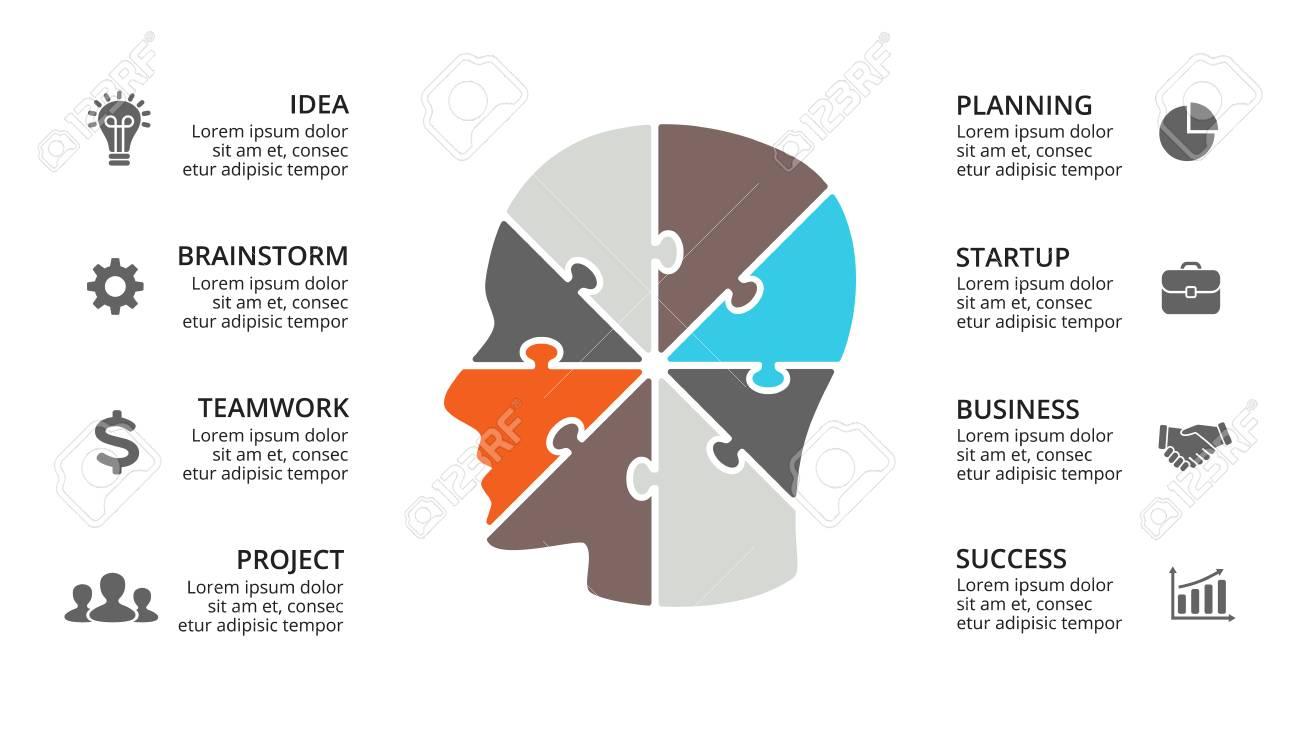 Vector Cerebro Infografía. Plantilla Para Diagrama De Cabeza Humana ...