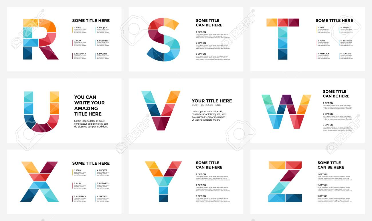Vector alphabet infographic, presentation slide template  Business