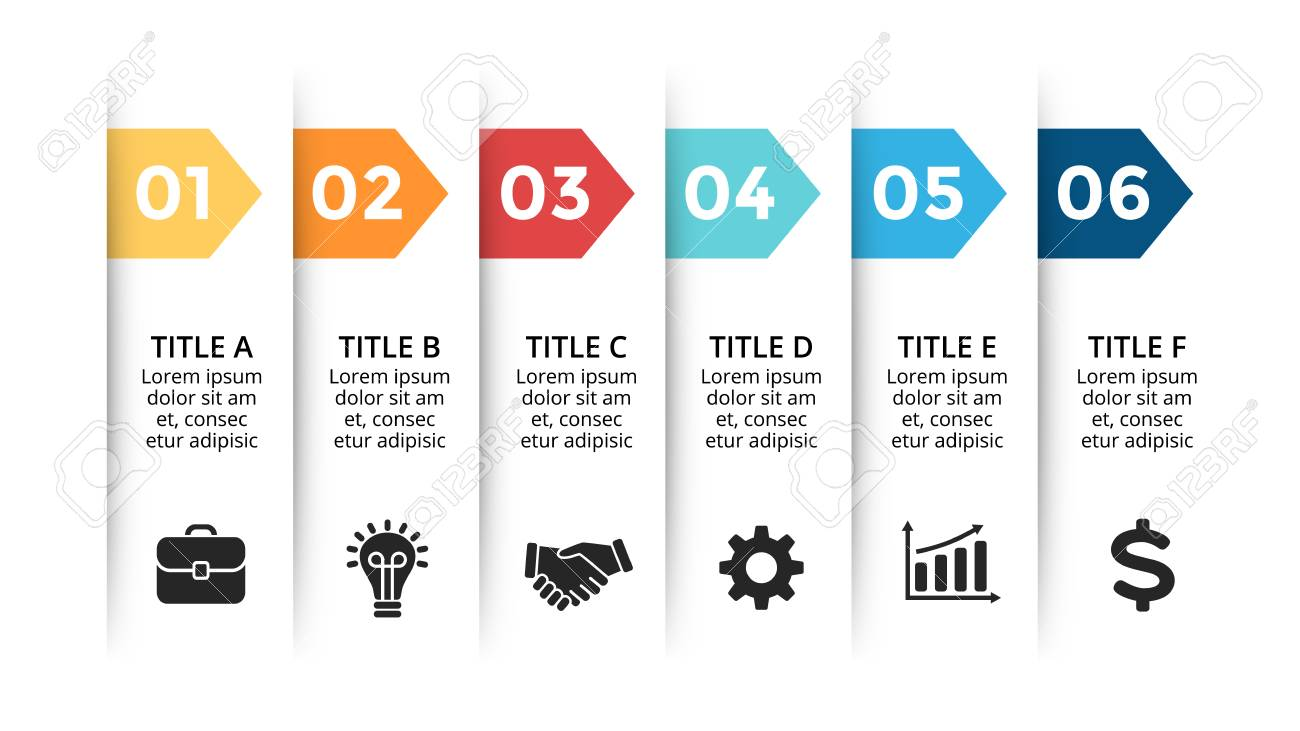 Vector paper arrows infographic, banners diagram, labels graph, stickers presentation chart. Business concept with 6 options, parts, steps, processes. Slide template. - 105855675