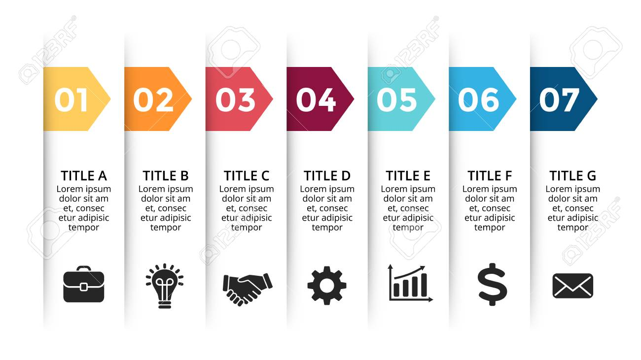 Vector paper arrows infographic, banners diagram, labels graph, stickers presentation chart. Business concept with 7 options, parts, steps, processes. Slide template. - 105855676