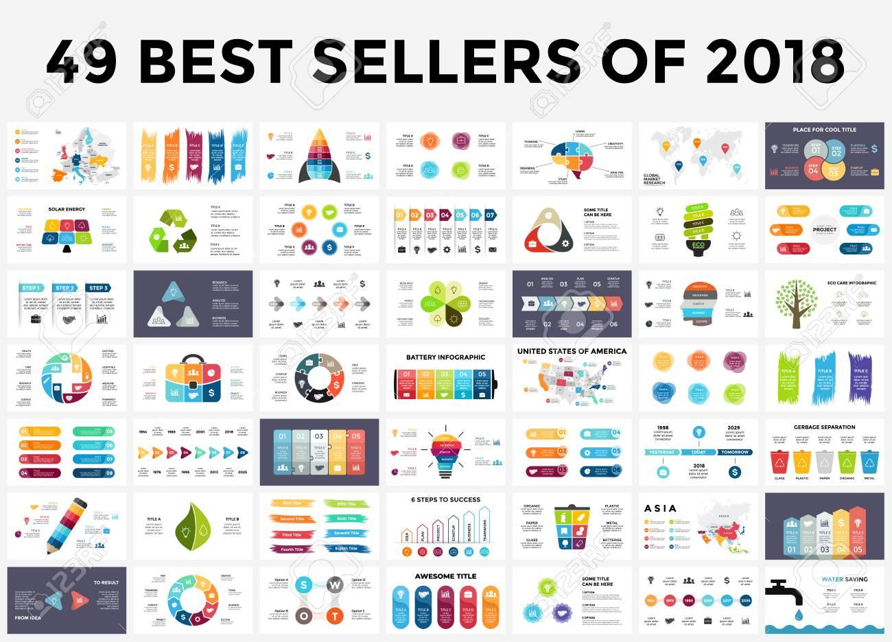 Presentation slide templates set with infographic elements. - 112826351