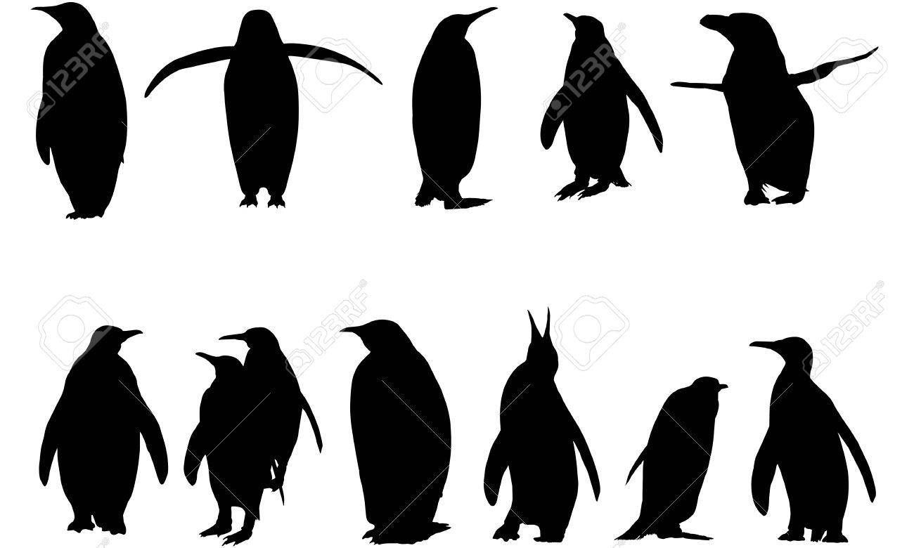 penguin silhouette vector illustration. royalty free cliparts