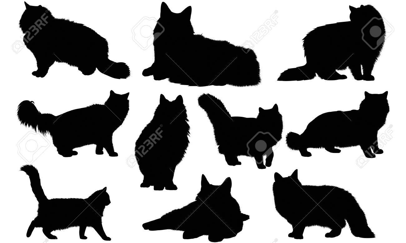 Big Cat Vector Clipart of a Digital Collage of Profiled Black Forest Animal  Silhouettes, on White by JR - #1280