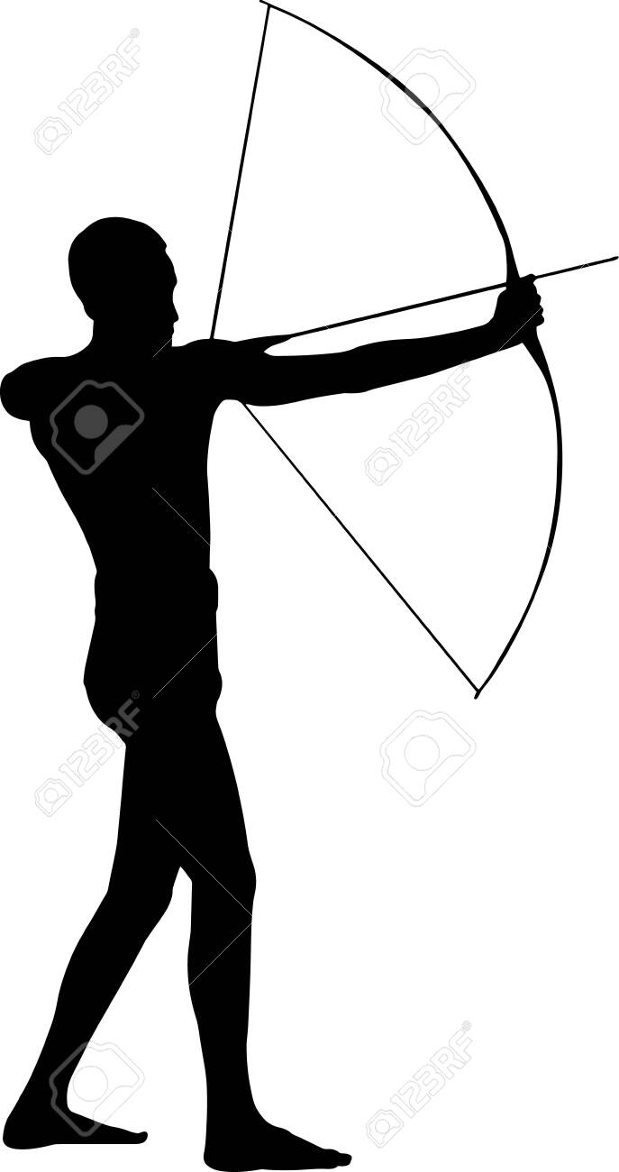 Archery Man 2 isolated vector silhouette - 157968936