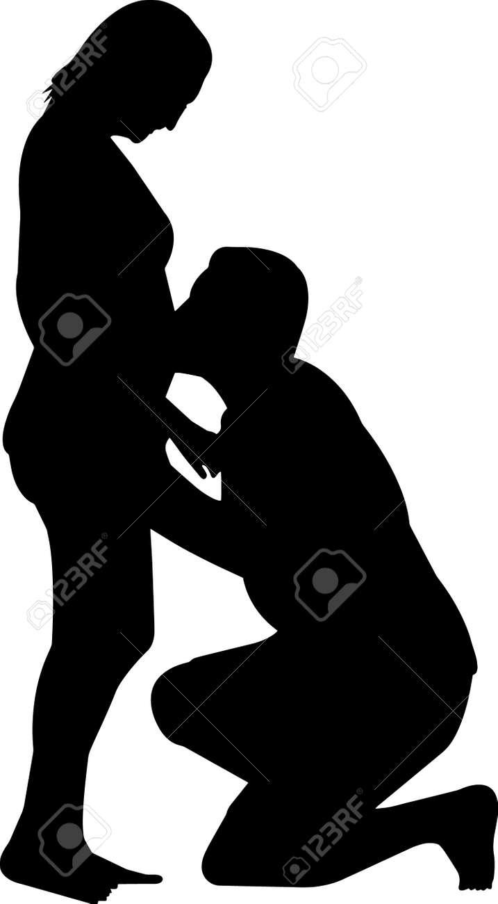 Pregnant Couple Silhouette Vector - 158015526