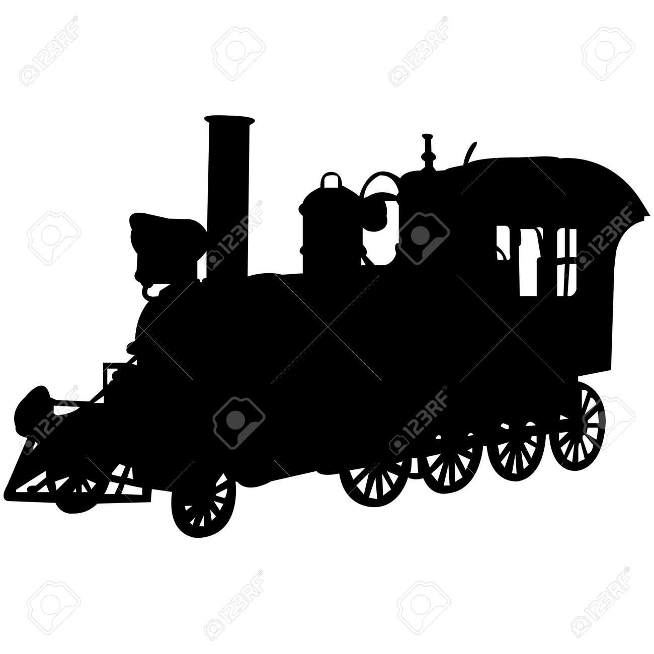 Steam Engine Silhouette Vector - 158121931
