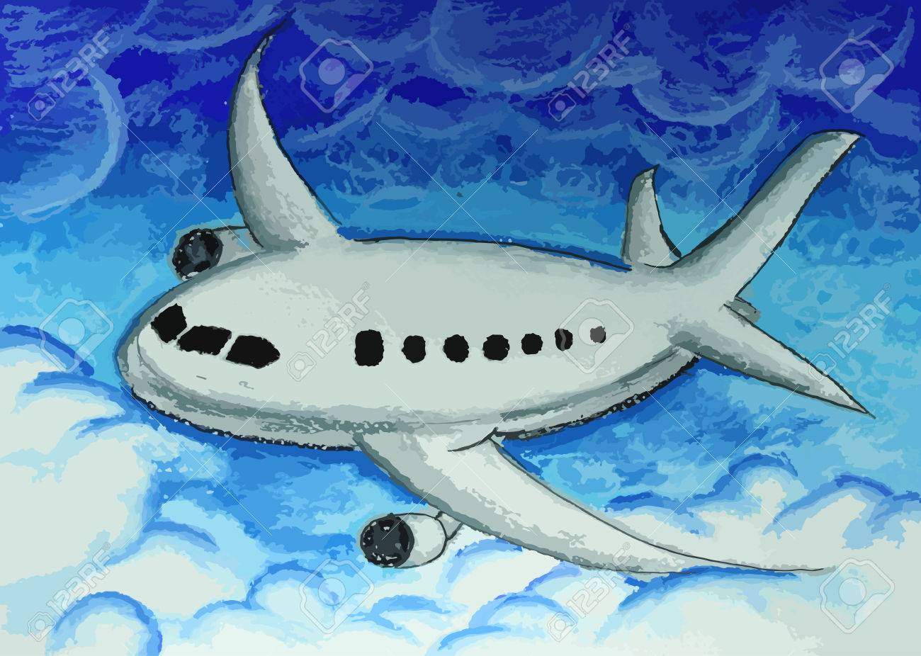 airplane in a blue sky painting background royalty free cliparts
