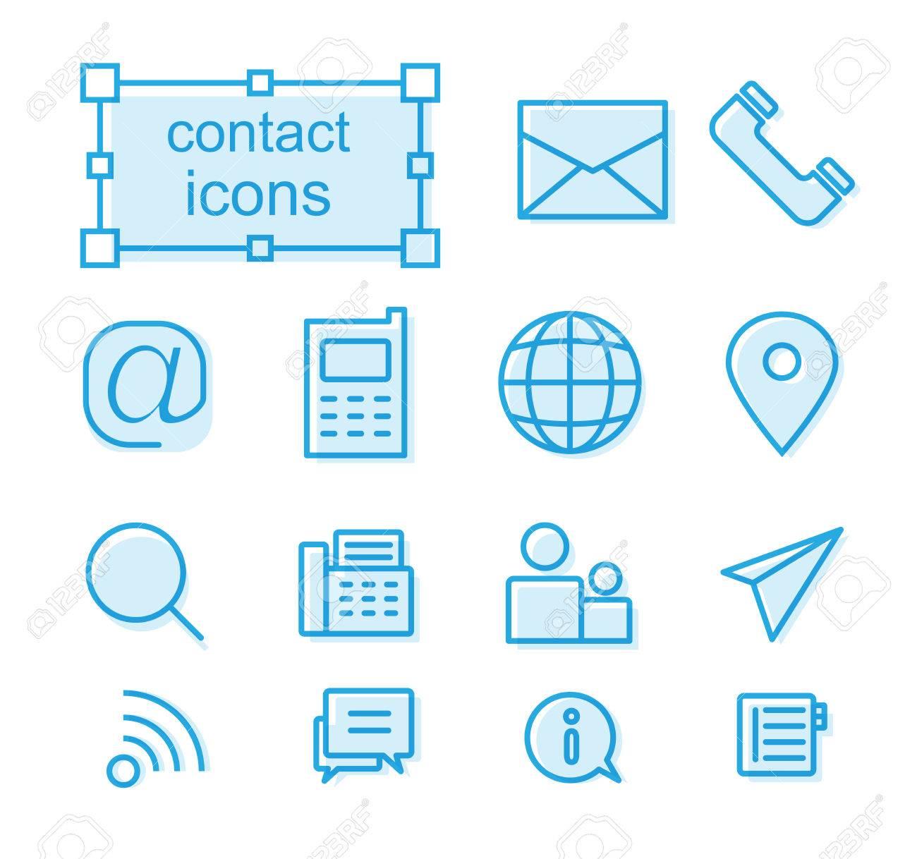 Thin Line Icons Set Linear Symbols Set Contact Us Royalty Free