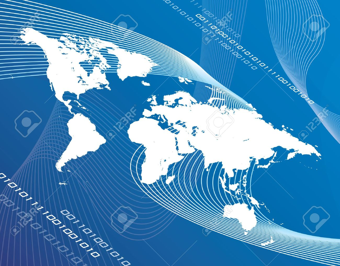 A world map montage over a blue background. Stock Photo - 416047