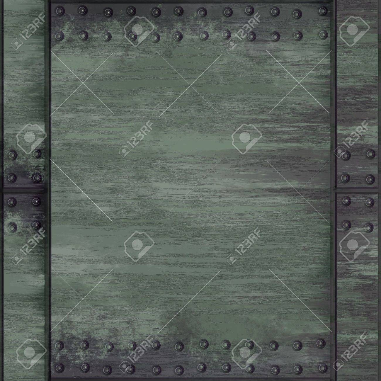 A rivetted steel background. It can be used as a frame or border, or tiled as a seamless pattern. Stock Photo - 821863