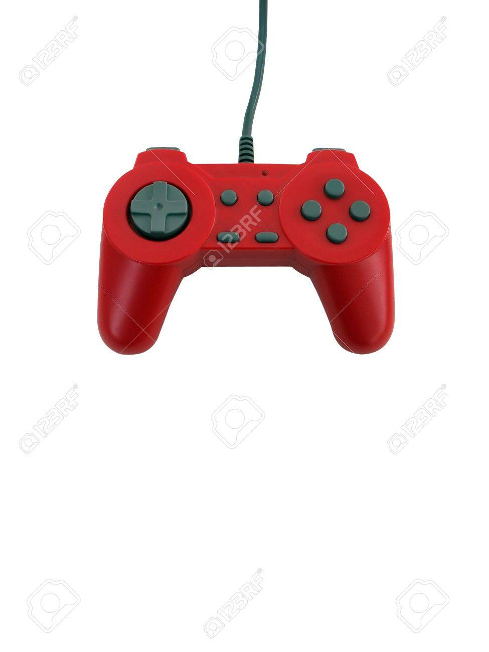 A red game controller isolated over white with plenty of copyspace.  This file includes the clipping path. Stock Photo - 2947921