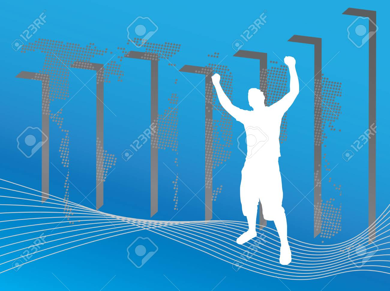 A world business illustration with a profit chart and a silhouette of a man posing victoriously.  This vector image is fully customizable. Stock Vector - 3594297