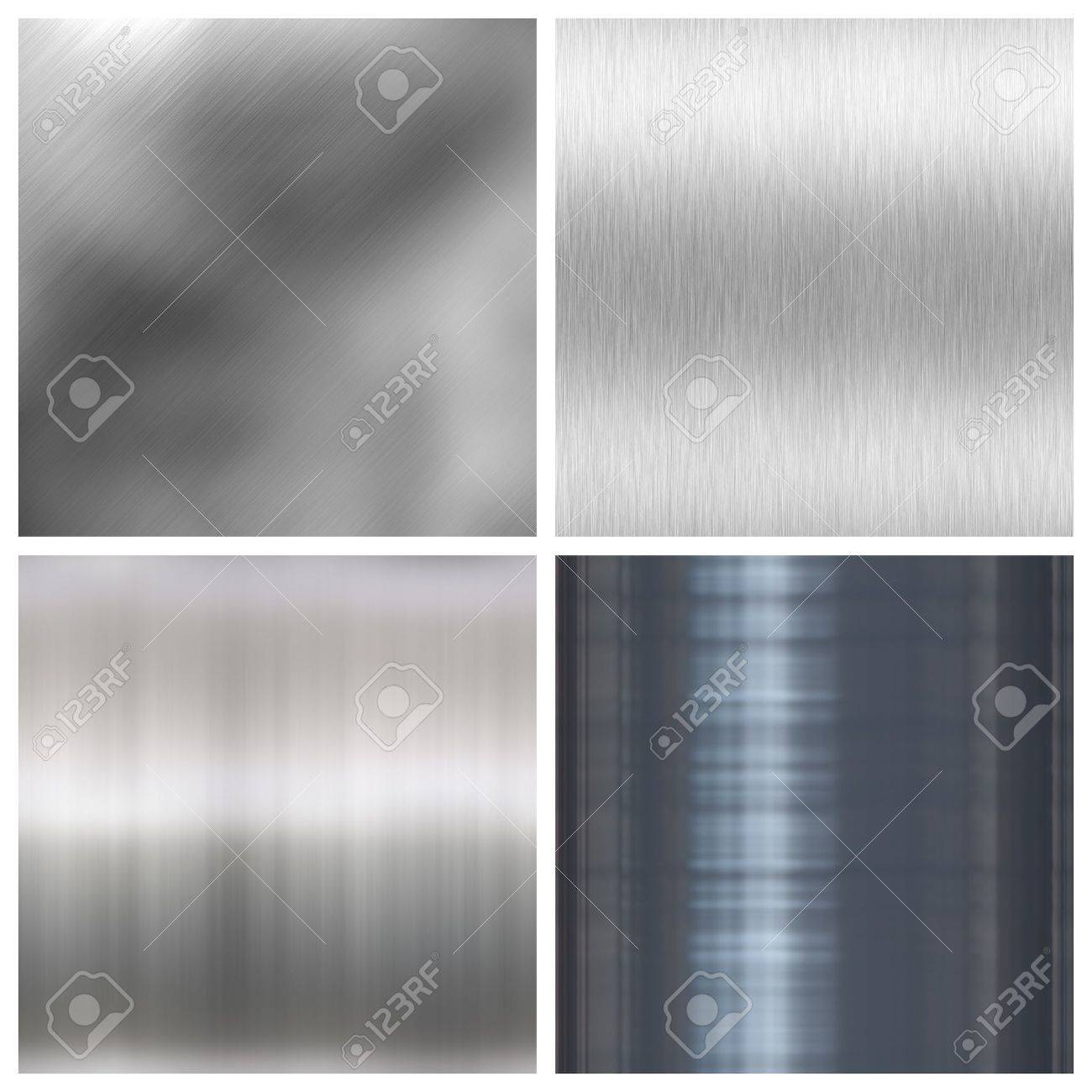 A collection of four different brushed aluminum textures.  The lower two tile seamlessly as a pattern.  Full size versions are also available in my portfolio. Stock Photo - 3616978