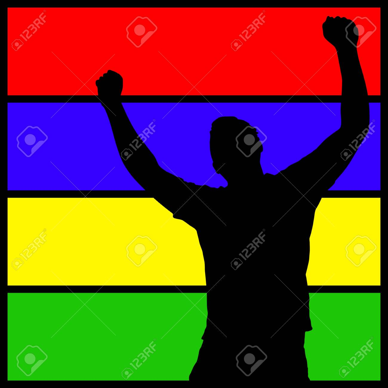 A silhouette of a man with his arms in the air over a colorful background. Stock Photo - 4124771