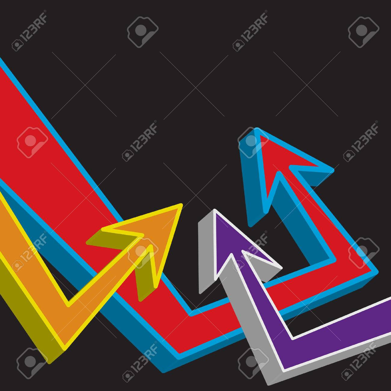 A funky urban layout with graffiti style arrows. Stock Vector - 4324250