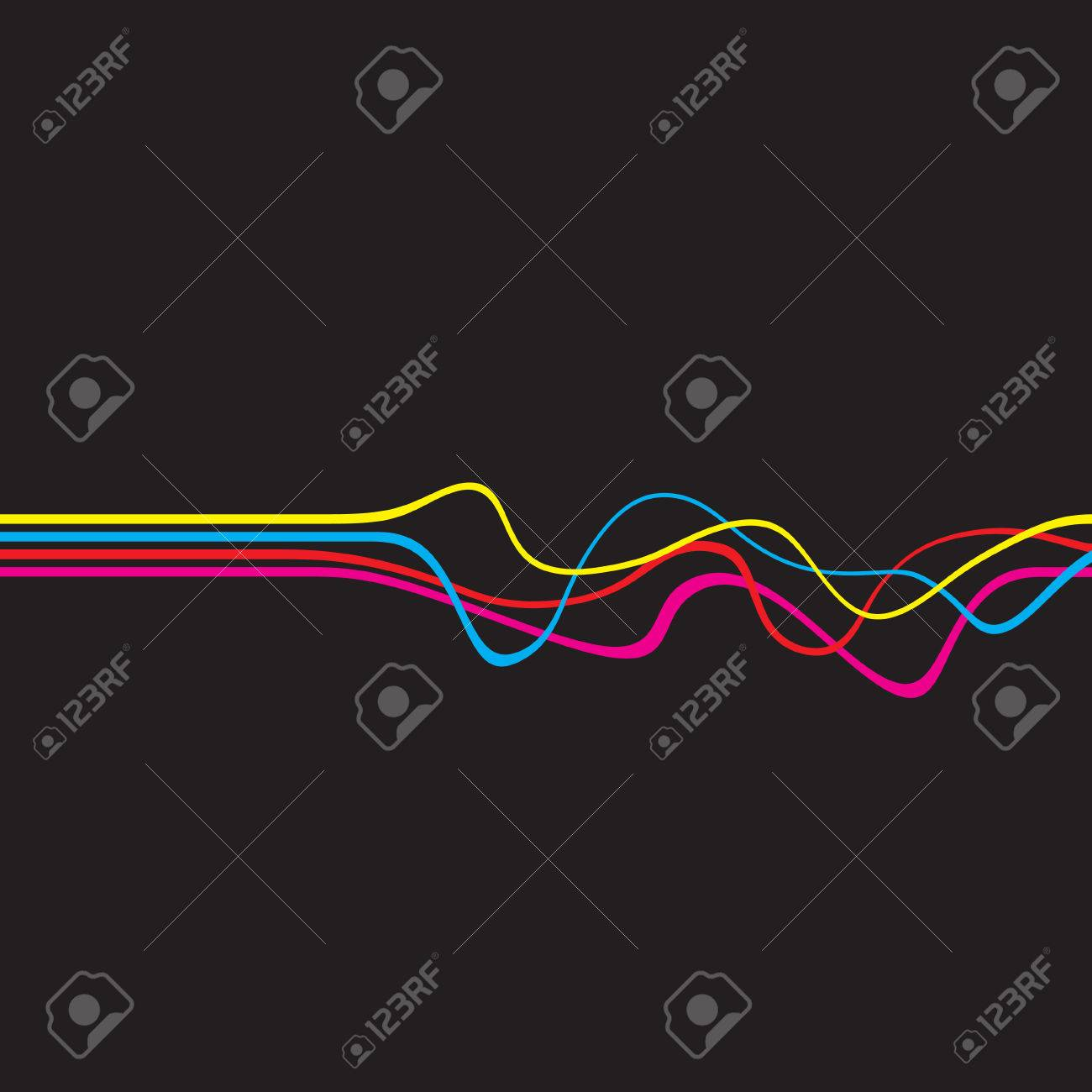 Abstract layout with wavy lines in a cmyk color scheme.  This vector image is fully editable. Stock Vector - 4463617