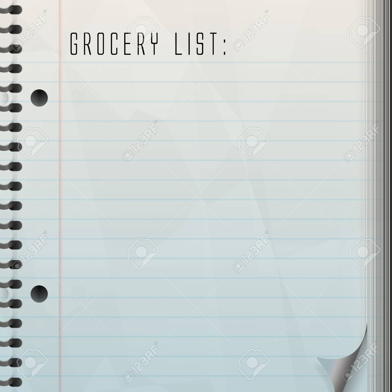 a blank grocery list with a page curl. stock photo, picture and