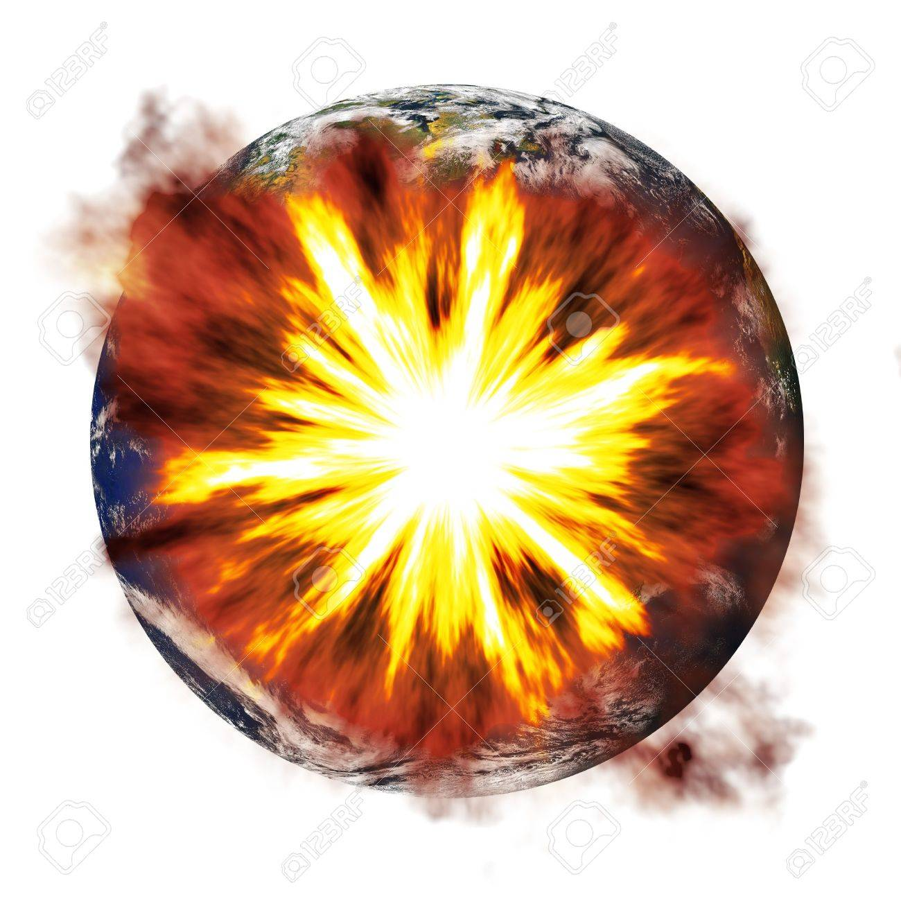 An illustration of the earth exploding from an asteroid or other nuclear weapon. Stock Illustration - 4764607