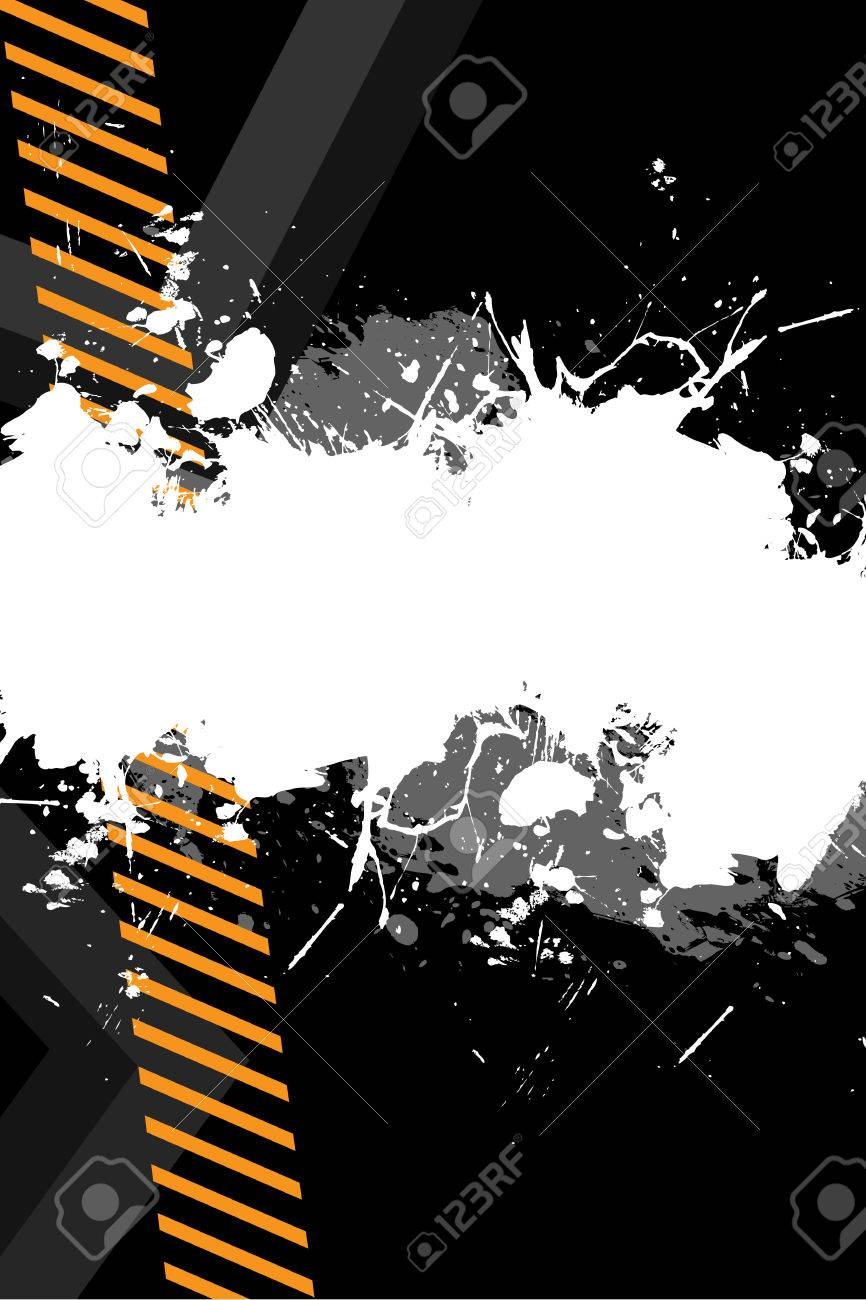 A hazard stripes layout with paint splatter effects.  This vector image is fully editable. Stock Vector - 5201758