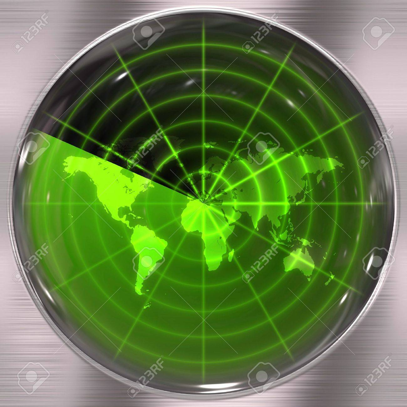 The world map in a radar screen - blips can be added easily anywhere they are needed. Stock Photo - 5516351