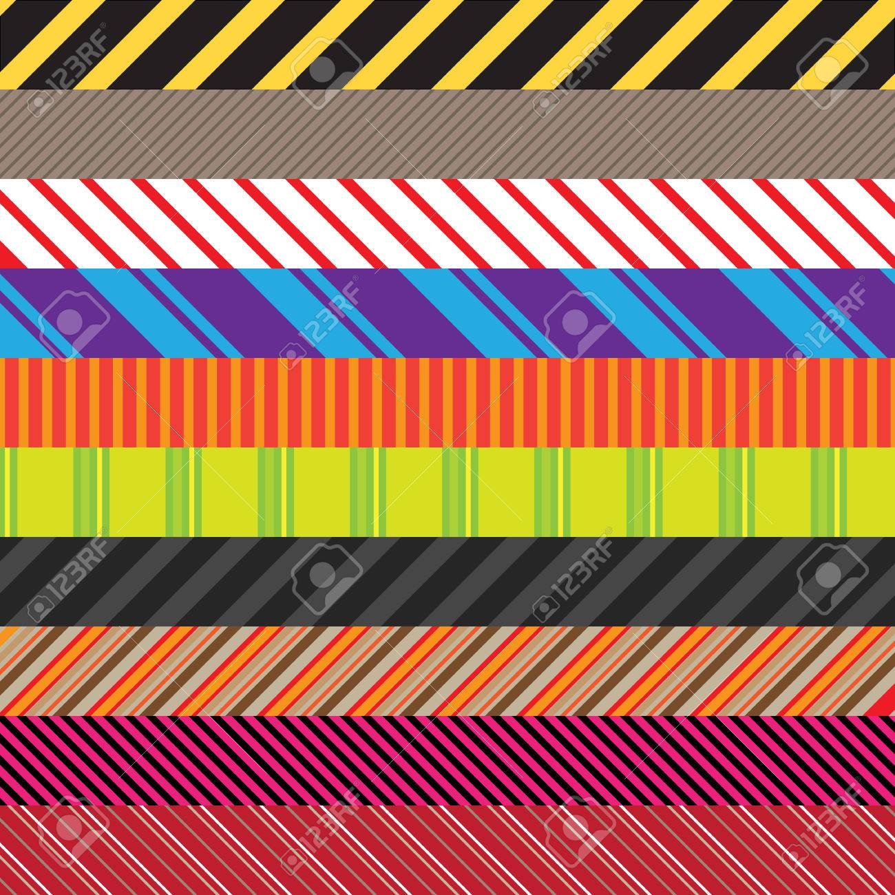 Stripes patterns in an assortment of colors and styles.  Easily use these to create seamless backgrounds or use them in other elements. Stock Vector - 5621524
