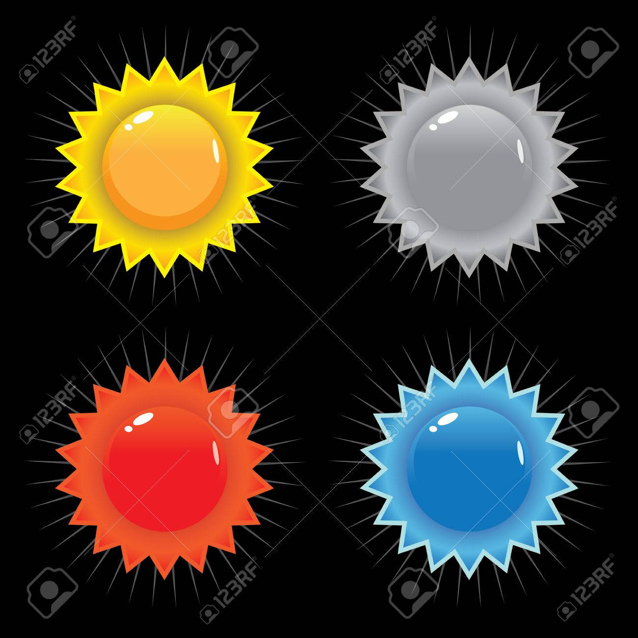 A set of vector seals or icons including primary colors red blue and yellow. Stock Vector - 6370280