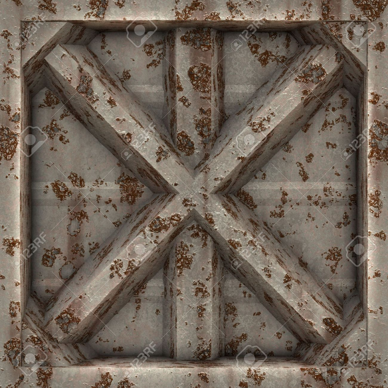 A rusted and worn 3D metal plate in an X shape. This tiles seamlessly as a pattern. Stock Photo - 6394642