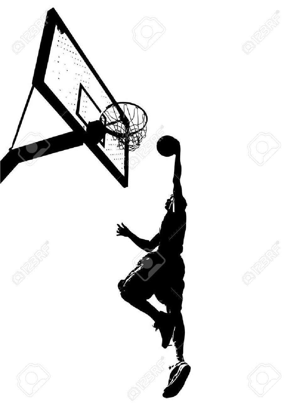 High contrast silhouette illustration of an athlete slam dunking a basketball. Stock Vector - 6579145