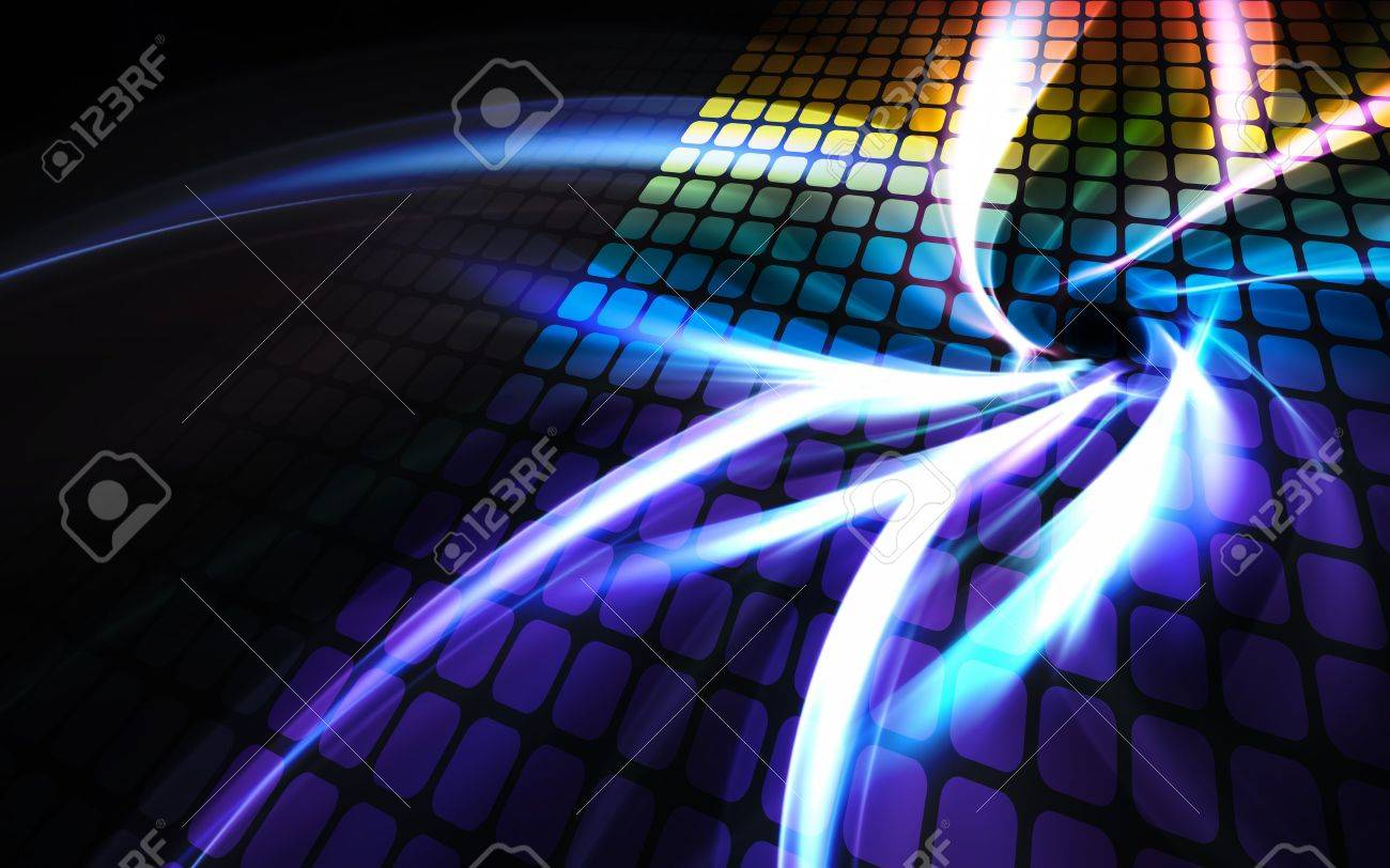 A rainbow colored digital wall or display screen with reflections and plenty of copyspace. Stock Photo - 6812191