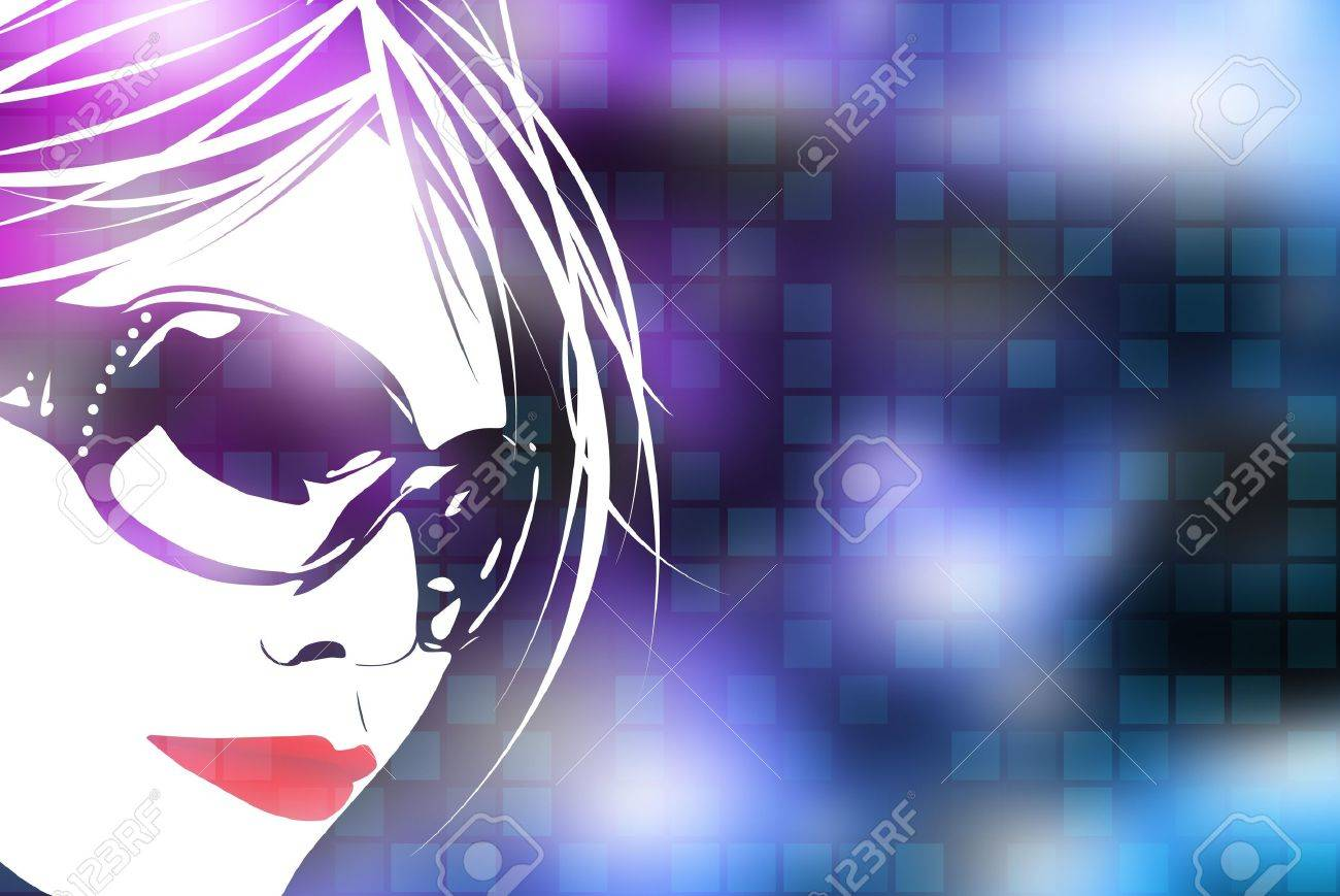 An illustration of a womans face over a blue digital background with square shapes. Stock Photo - 6980205