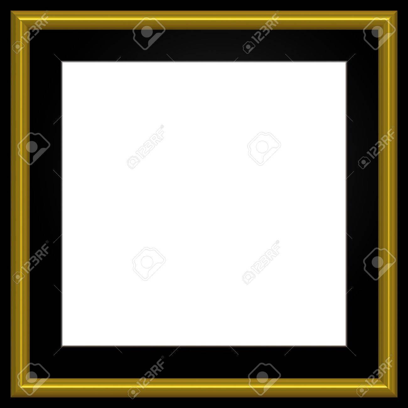Gold Und Schwarz Quadrat-Foto-Rahmen Und Weiß-Exemplar. Lizenzfreie ...