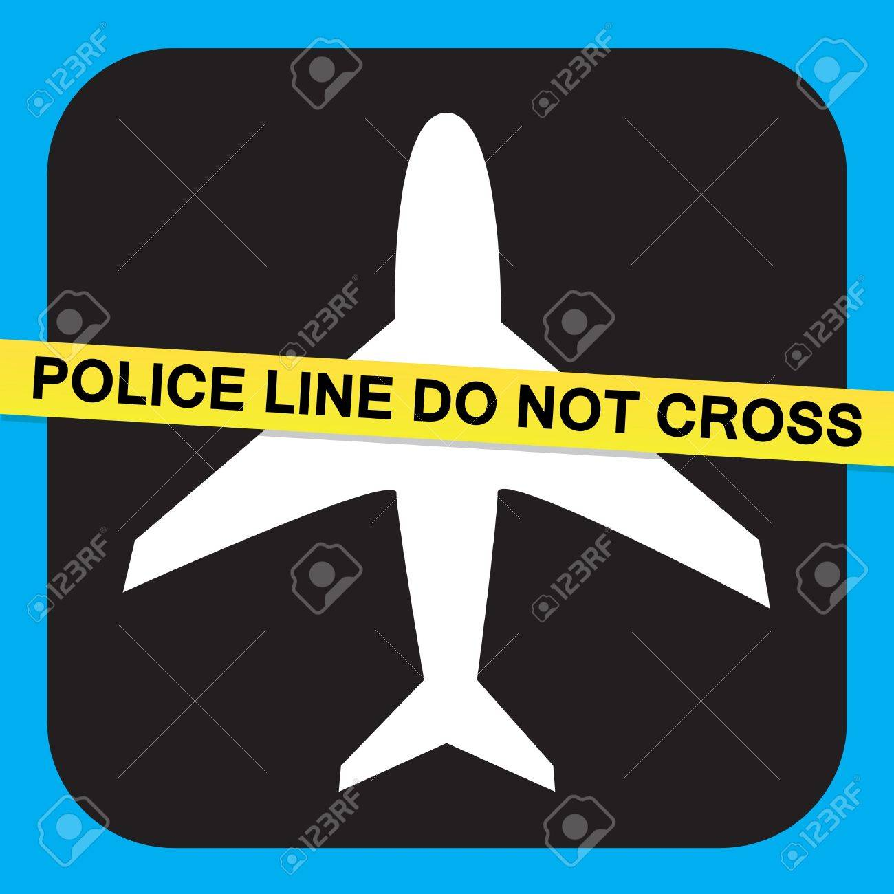 Airport airline security screening illustration relating to terrorist or criminal activity with police tape the says POLICE LINE DO NOT CROSS. Stock Vector - 7054549