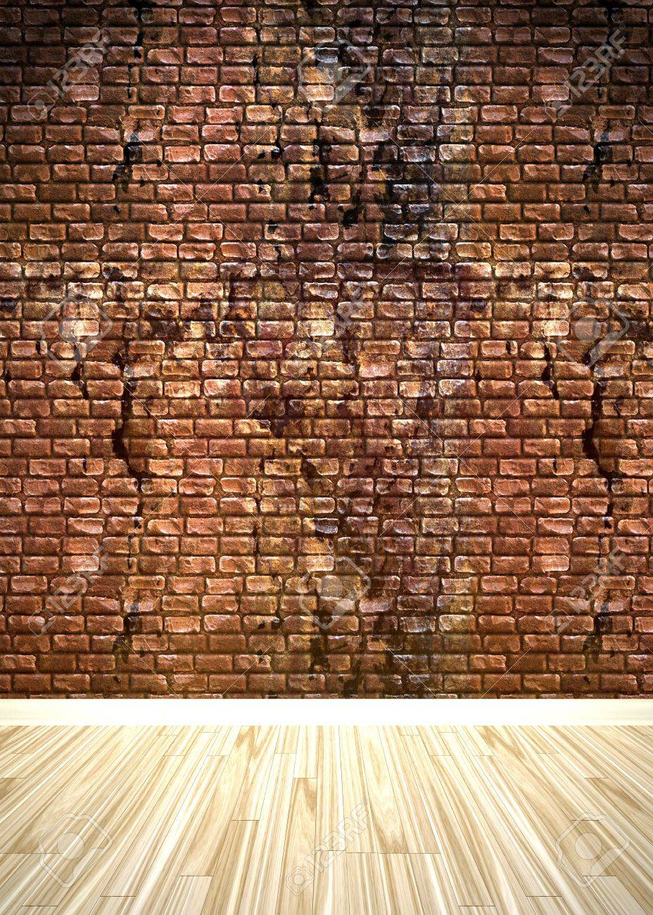 A grungy brick wall interior background with wood parquet flooring. Stock Photo - 7106465