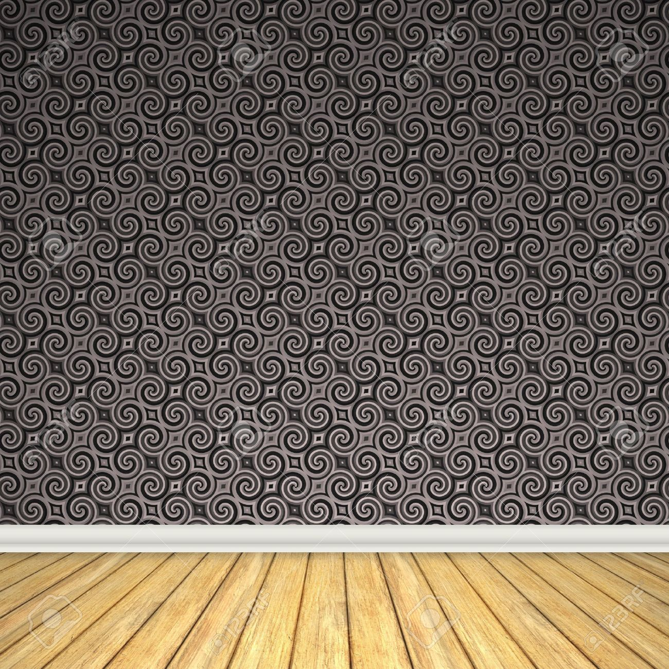 An empty room interior backdrop with hard wood flooring and a vintage  styled wallpaper pattern. An Empty Room Interior Backdrop With Hard Wood Flooring And A