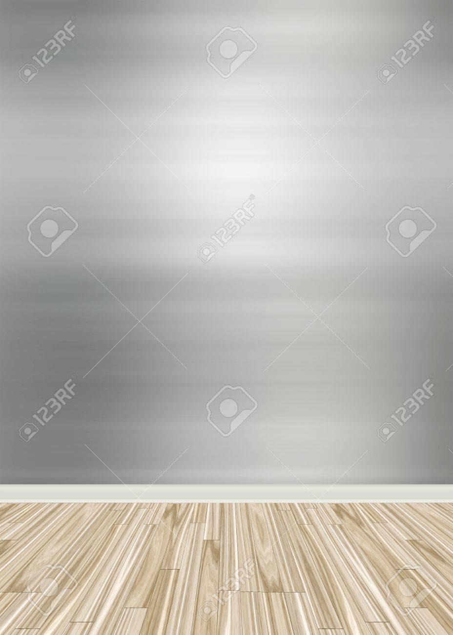 Ein Leerer Raum Interior Kulisse Mit Harten Holzfußboden Und Ein ...