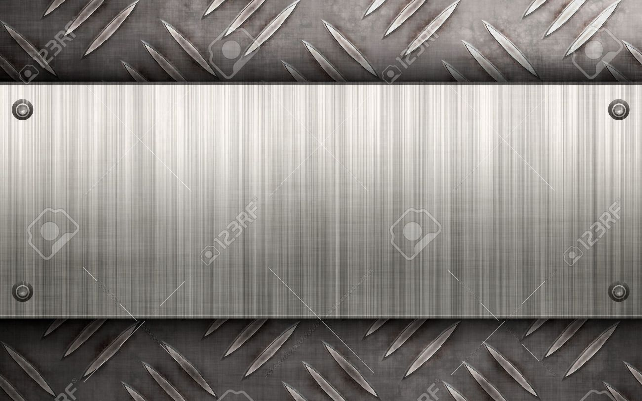 Worn diamond plate metal texture with a brushed aluminum plate stock photo worn diamond plate metal texture with a brushed aluminum plate riveted to it makes a great layout or business card template colourmoves