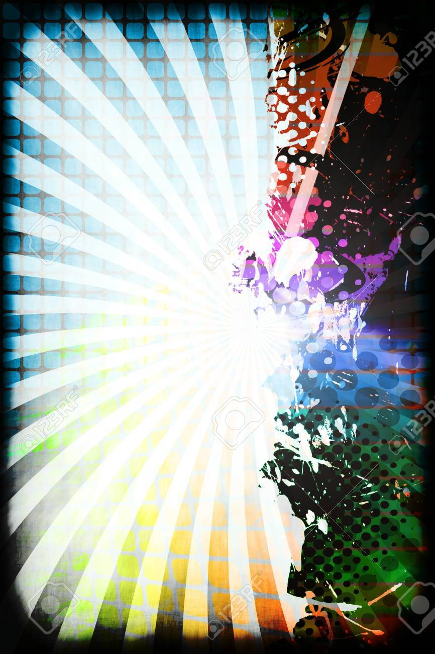 A funky and rainbow colored splatter layout with halftone texture and copy space. Stock Photo - 7978993