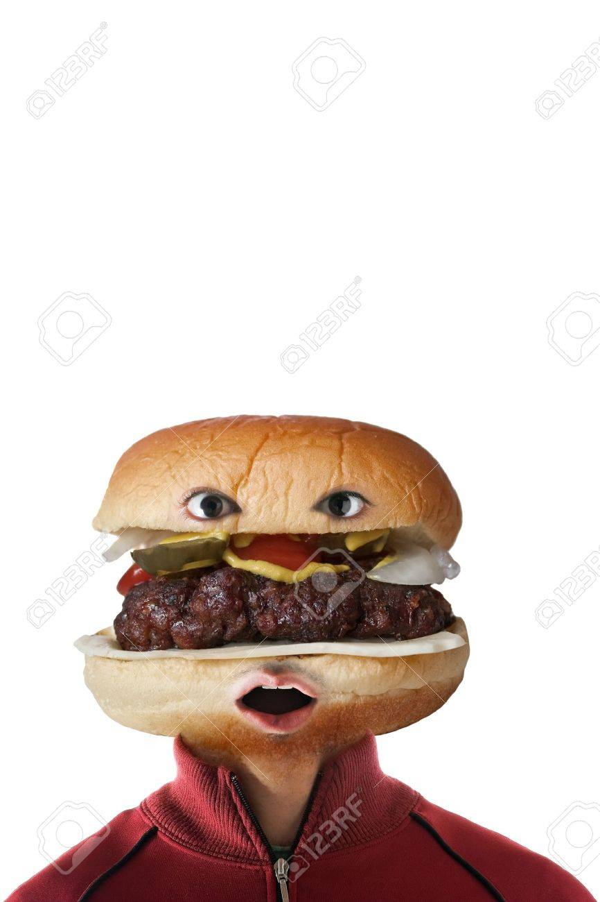 A man with a hamburger as a  head.  They say you are what you eat! Stock Photo - 8032058