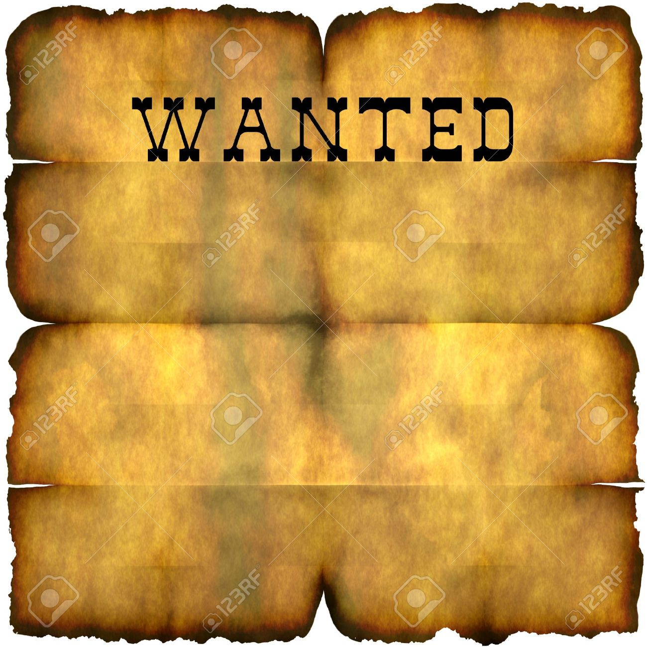 An Empty Wanted Poster With Copy Space Isolated Over White – Wanted Reward Poster Template