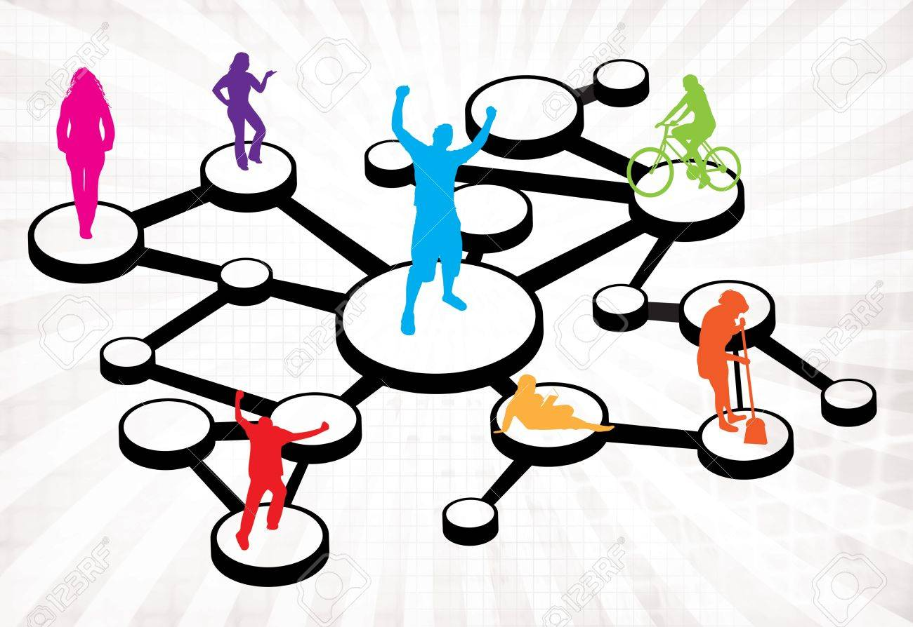 An illustration of different types of people connected in different ways.  This works great for social networking or word of mouth referral marketing concepts. Stock Photo - 9591398