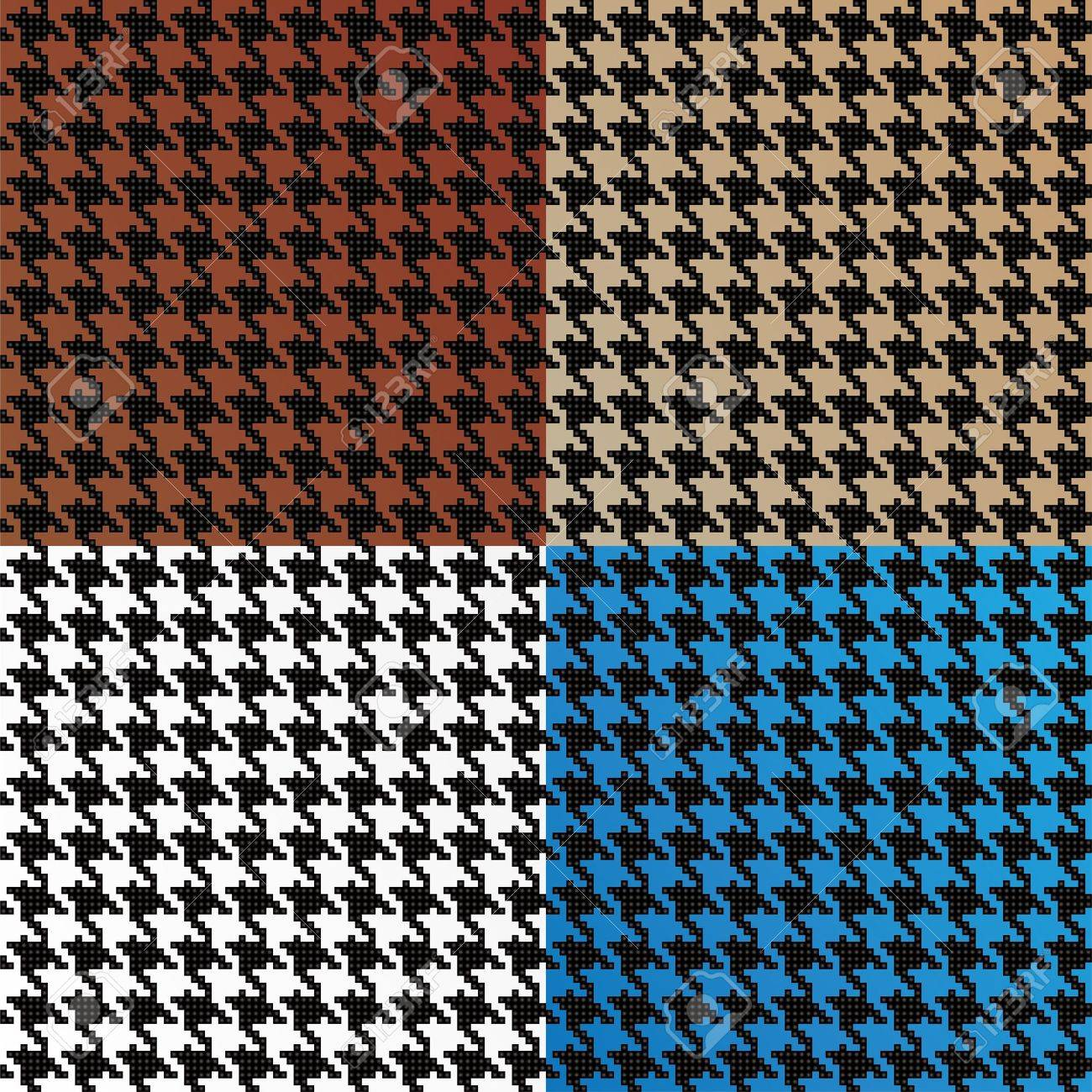 Trendy houndstooth patterns made out of tiny squares in a variety of different colors that tile seamlessly as a pattern. This vector is fully editable. Stock Vector - 9631466