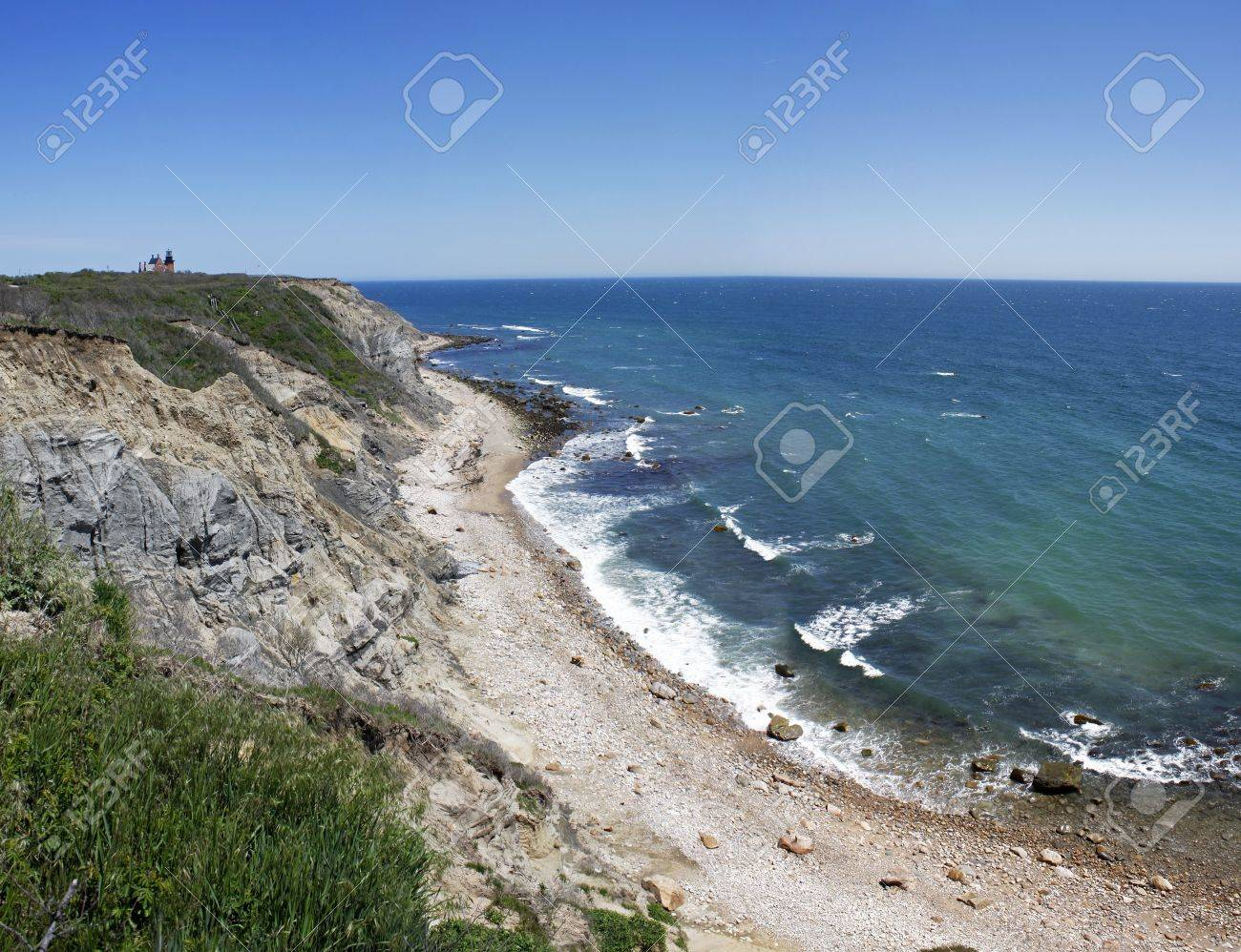 View of the Mohegan Bluffs section of Block Island located in the state of Rhode Island USA. Stock Photo - 20408029
