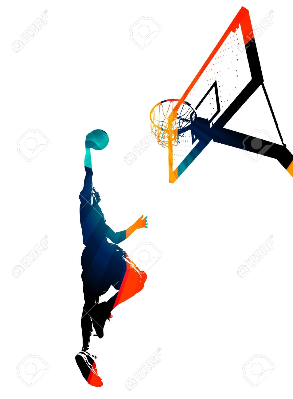 High contrast silhouette illustration of an athlete slam dunking a basketball. Stock Illustration - 21381693