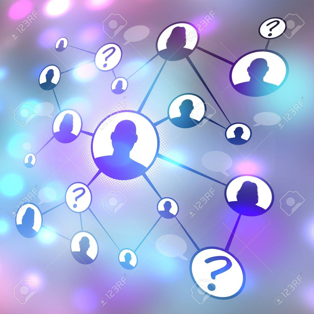 A flow chart diagram of different men and women connecting together via social media or social networking.  Great for word of mouth referral marketing or online dating concepts. Stock Photo - 21735780
