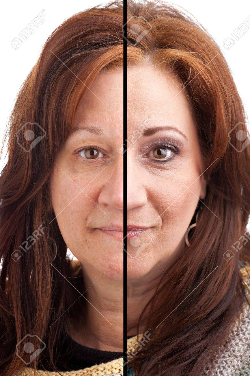 Before and after makeup on a middle aged Italian German brunette woman. Stock Photo - 21888241