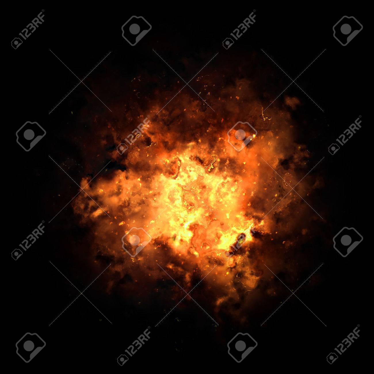 Realistic fiery explosion busting over a black background. Stock Photo - 27741854