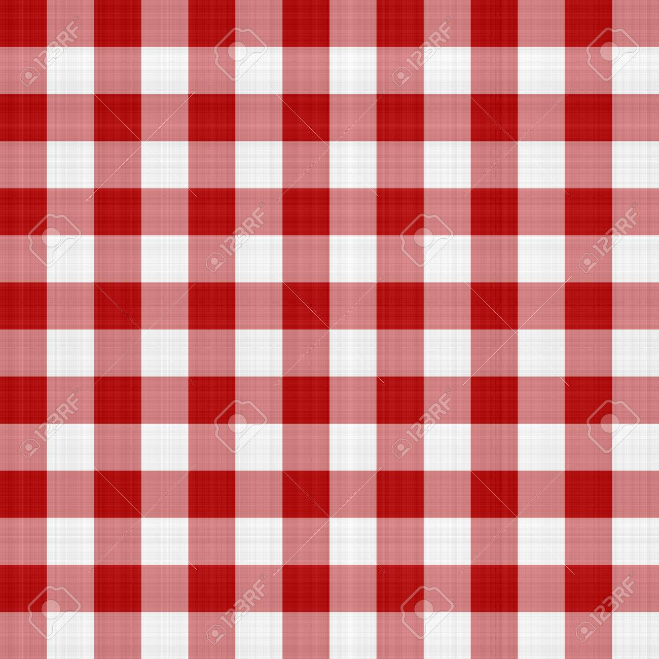 Illustration   Red And White Picnic Table Cloth Pattern Illustration That  Tiles Seamlessly As A Pattern.