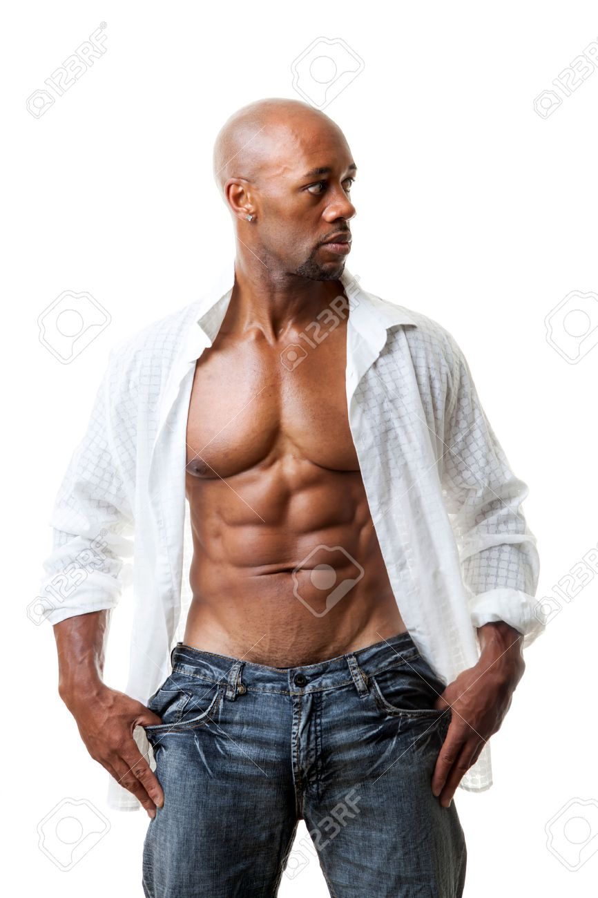 Toned and ripped lean muscle fitness man wearing an open shirt isolated over a white background. Stock Photo - 31937549